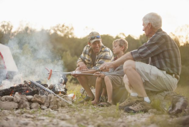 Grandad, father and son camping Father
