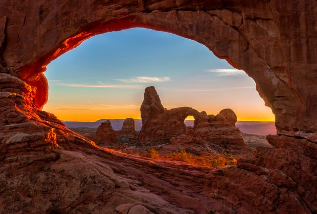 Two Arches in one at Arches National Park