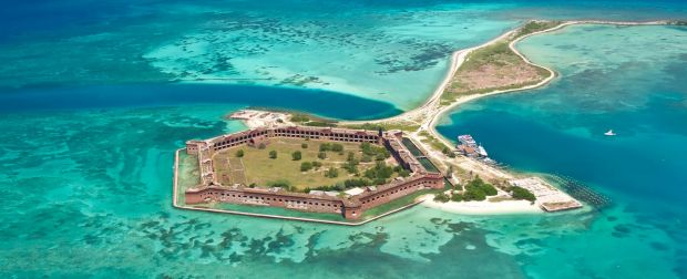 Aerial view of Fort Jefferson on Garden Key at Dry Tortugas National Park