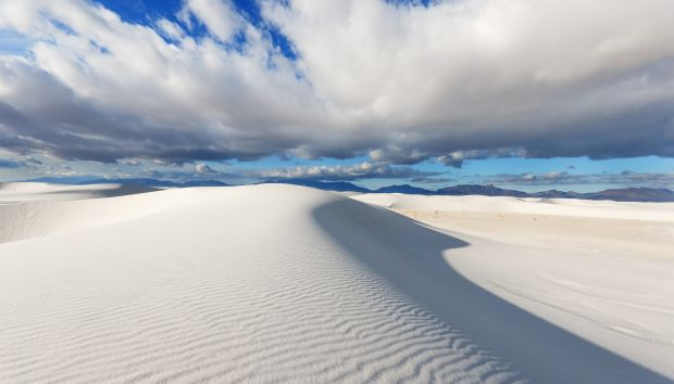 dunes of pure white gypsum sand in White Sands National Monument
